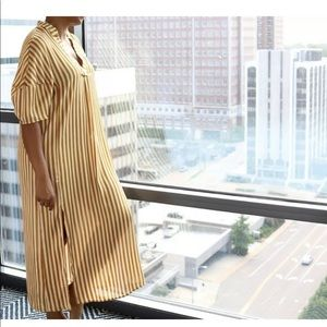 ZARA DRESS STRIPED OVERSIZED SHORT SLEEVES VENTS